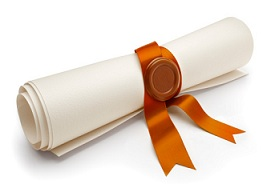 Angled view of scroll with golden ribbon and seal