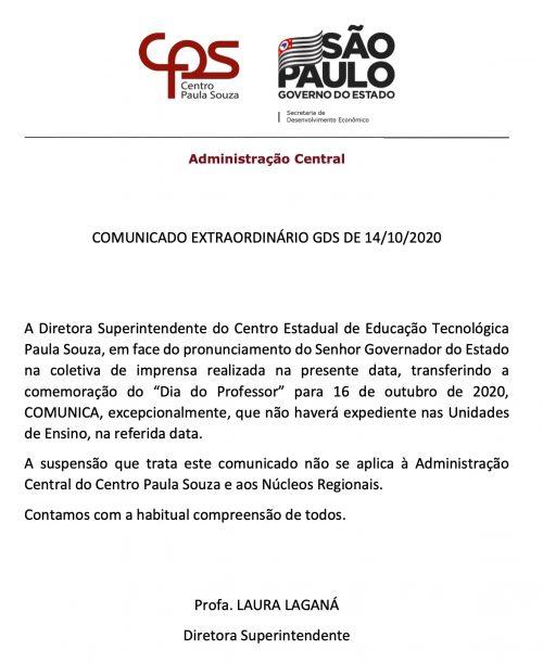 Comunicado Extraordinário GDS de 14out2020